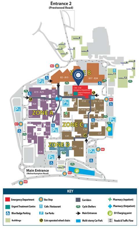 New Cross Hospital Map Emergency / A&E Services
